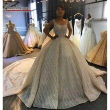 2020 Champagne luxe perles robe de mariée brillant cathédrale train robe de mariée demi paiement pas plein prix