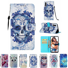 For Samsung A50 Leather Case for Samsung Galaxy A50 SM-A505FD 6.4'' OWL Unicorn Skull Print Flip Wallet Painted Phone Case худи print bar skull owl