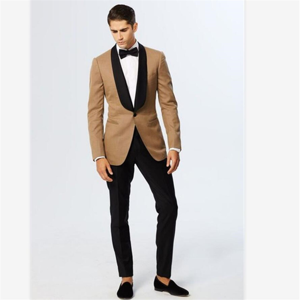 New Men's Suit Smolking Noivo Terno Slim Fit Easculino Evening Suits For Men Champagne Blazer Black Lapel Groom Tuxedos Suit(Jac