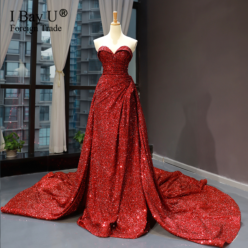 Dark Red Mermaid Evening Dress Shiny Sequin 2020 Prom Gowns For Dubai Women Formal Wear Prom Gowns Vestido De Fiesta
