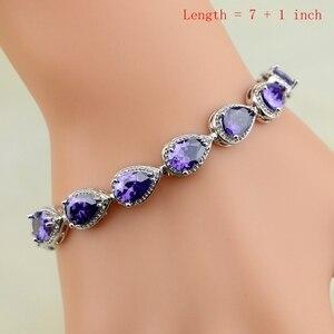 Image 2 - Argent naturel 925 ensembles de bijoux violet zircon cubique pierre bijoux pour femmes boucles doreilles/pendentif/collier/anneaux ouverts/Bracelet
