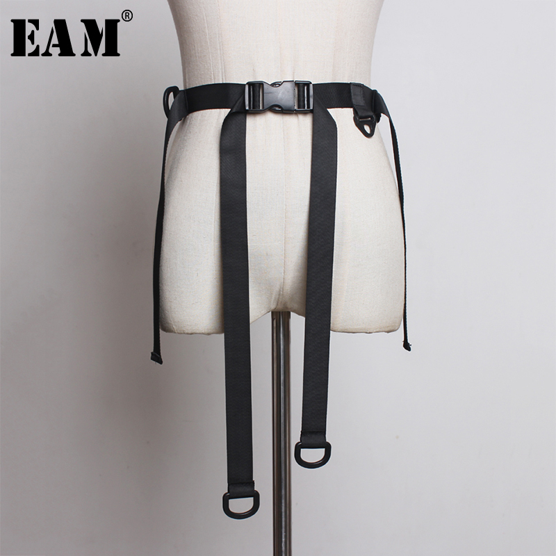 [EAM] Canvas Plastic Buckle Bandage Simple Black Belt Personality Women New Fashion Tide All-match Autumn Winter 2019 JZ671