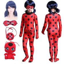 Fantasia ladyc traje cosplay jumpsui natal dia das bruxas meninas bbug traje festa roupas peruca brinquedos crianças