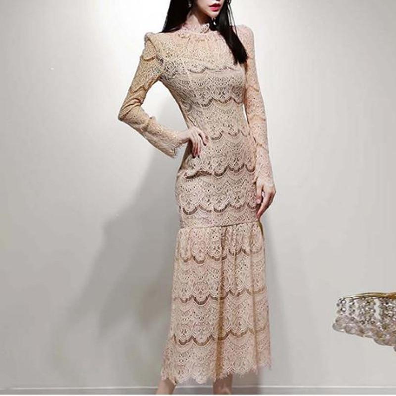 Casual Fashion O Neck Dress New Korean Lady Retro Lace Stitching Loose Dress Long Sleeve Slim Dress Vestidos - 2