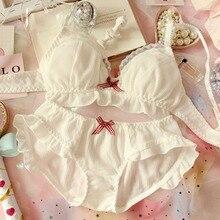 Japoński szyfonowa słodkie biustonosz i majtki zestaw Ruffles Wirefree miękka bielizna sen Intimates zestaw Kawaii Lolita kobiety bielizna zestaw