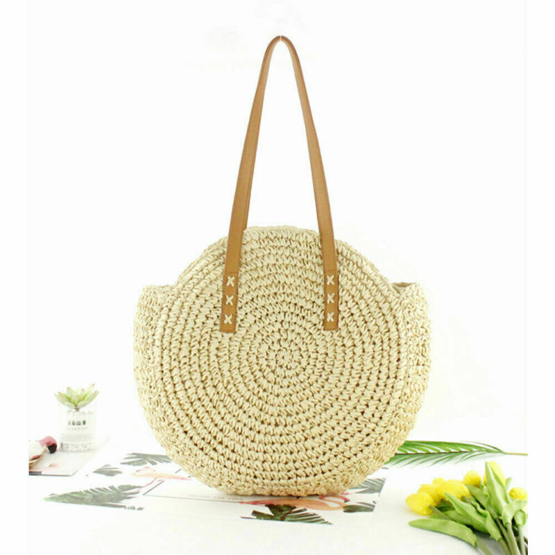 2019 New Straw Bag Women's Fashion Shoulder Bag Center Round Rattan Straw Hand-woven Bohemian Large Size Beach Bag