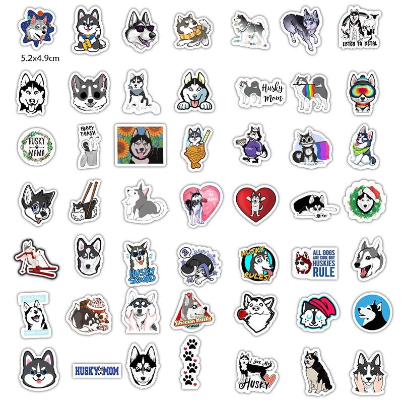 50Pcs/Pack Siberian Husky Stickers For Motorcycle Skateboard Bicycle Creative Photo Guitar Album Laptop Diy Waterproof