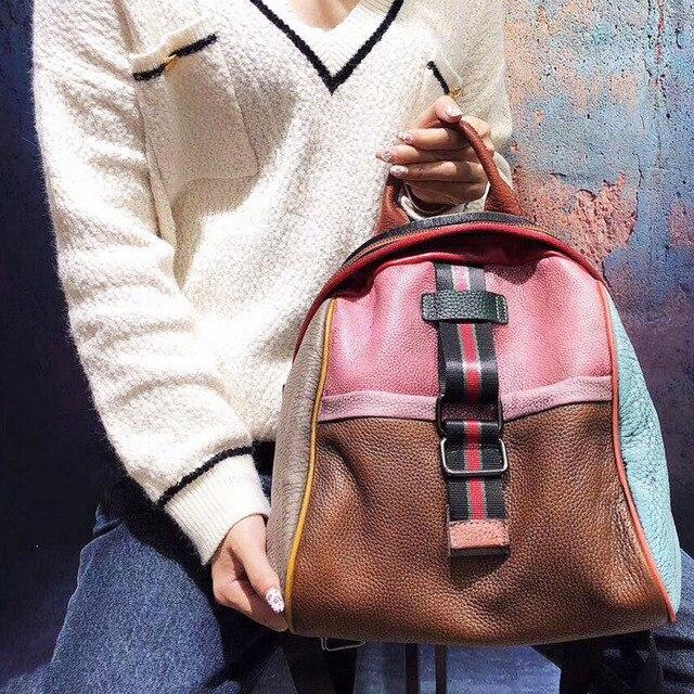 Véritable cuir femmes sac à dos en cuir naturel sac à dos rétro Style peau de vache personnalité coloré Patchwork sac à bandoulière 2020 nouveau
