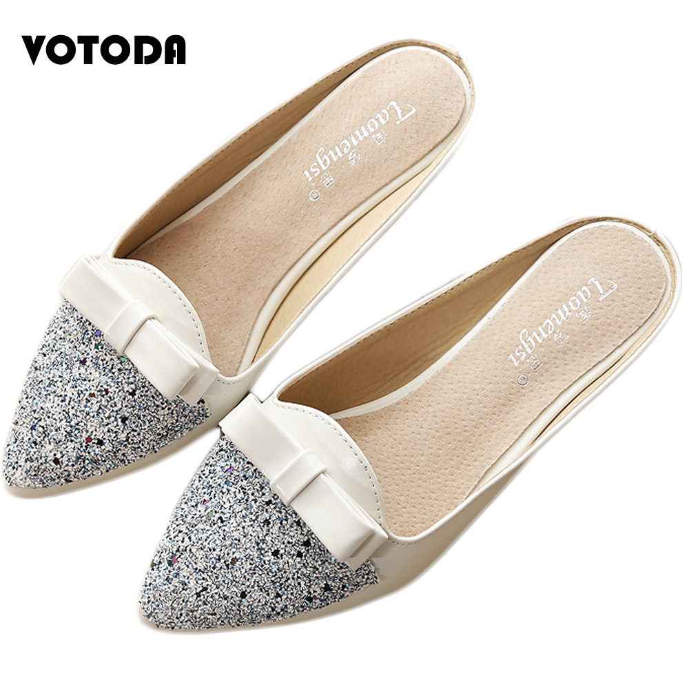 Summer New Bow Sequins wear Slippers Female Sandals Baotou Pointed Head with Banquet high Heels Women Pumps Women Shoes