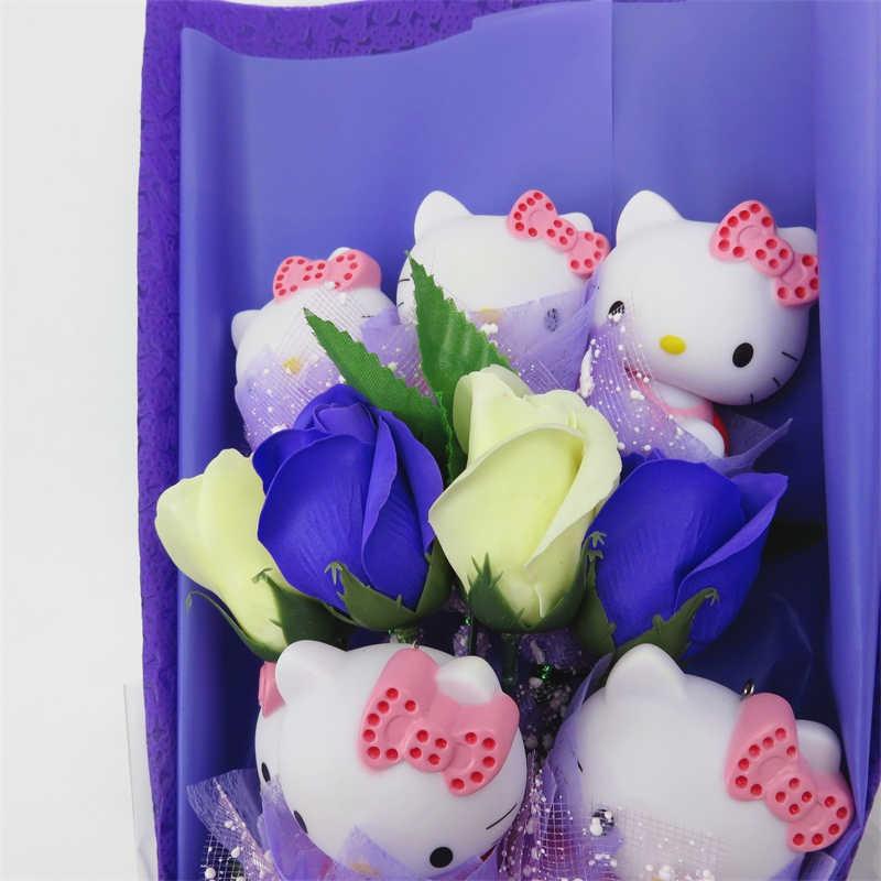 حار بيع جميل القطط دمية مع الصابون الورود الكرتون زهرة باقة هدية مربع المنزل الديكور عيد الميلاد هدية عيد الحب