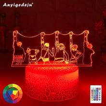 Luffy-Lámpara de noche de una pieza con luz LED 3D, modelo Sanji Zoro Nami, lámpara de mesita de noche con Escritorio de decoración táctil