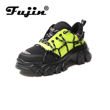 Fujin Women Vulcanize Shoes Spring Dropshipping Casual Mesh Cross Tied Mixed Colors Fashion Thick Bottom Womens