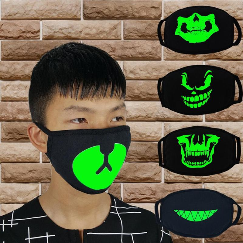 Woman Men Party Masks Glow In Dark Skull Scarey Masks Black Mask Mouth Half Face Masquerade Cosplay Costume Diy Party Decoration