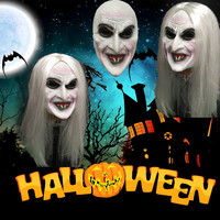 Halloween Festival Party Decoration Mask Rubber Mask White Hair Female Ghost Bar Party Supplies decor