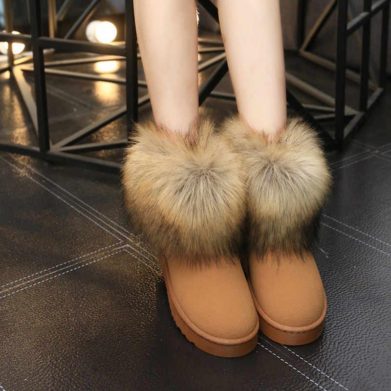 Kaliteli kadın çizmeler yuvarlak ayak tilki kürk yarım çizmeler topuk düz topuklu ayakkabılar kadın kadın 2019 kış patik kırmızı kalın yüksek çizmeler