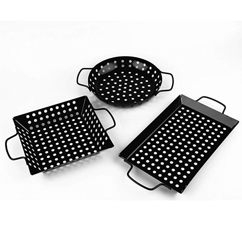 3 Styles Non Stick Heavy Duty Stainless Steel BBQ Vegetable Grill Basket Pan Set Environmentally Friendly  Barbecue Utensils