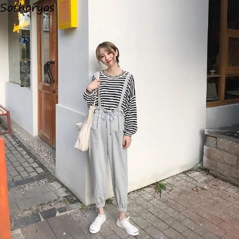 Jumpsuits Women Elastic-waist Korean-style Spring Ankle-length Solid All-match Drawstring Casual Elegnat Trendy Chic Black Solid