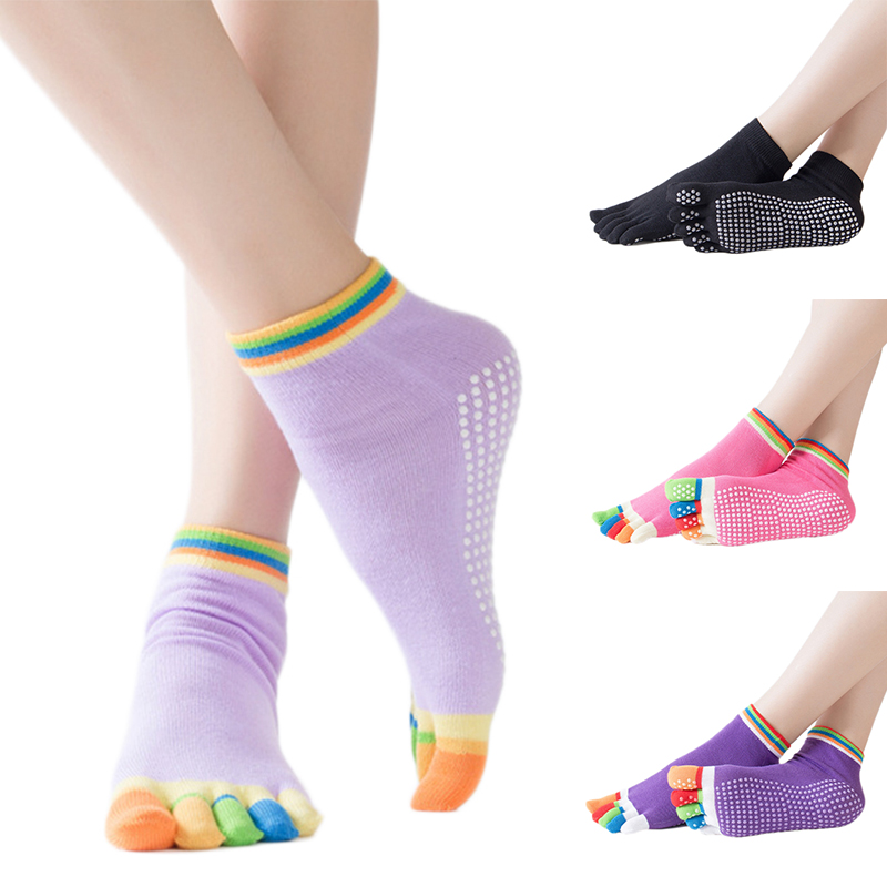 Hot Sale Women Anti-slip Yoga Socks Fingers Fitness Pilates Socks  5 Toe Socks Ballet Gym Fitness Sports Cotton Socks Winter