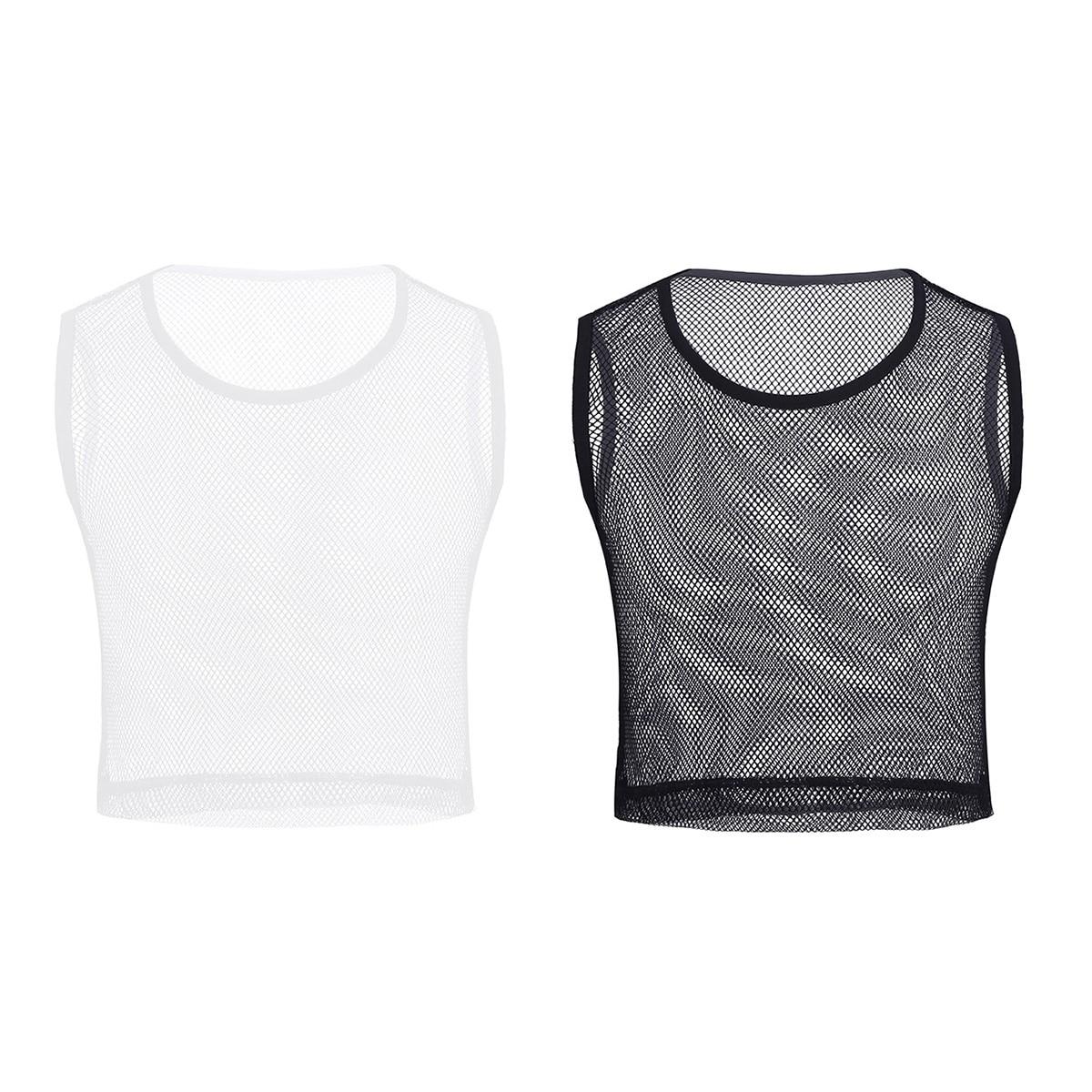 Mens Muscle Mesh Fishnet Hollow Grid T-shirt Sleeveless Vest Tank Top Clubwear