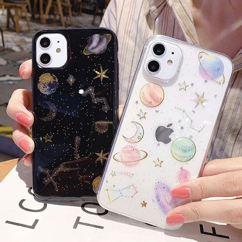 Glitter Bling Stars Moon Design Phone Back Cover For iPhone Models 5