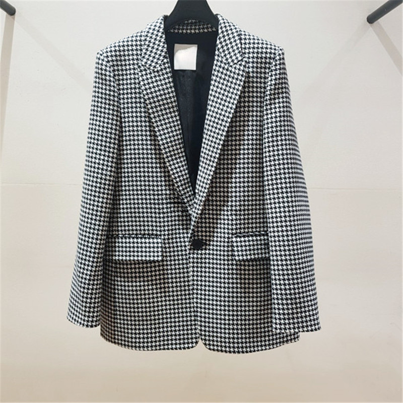 The New Autumn 2019 Model Is Full of Thousand Birds Button Suit Lapel Coat Notched Plaid Clothes Women Jackets and Coats Suit in Blazers from Women 39 s Clothing