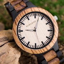 Bobo Vogel Paar Horloge Zabra Houten Quartz Horloges Voor Mannen Vrouwen Fashion Luxe Christmas Gift Logo Maat Drop Verzending