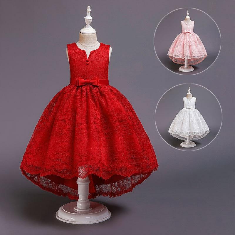 Girls Dress 2019 New Style Girls Princess Dress Formal Dress Fresh Wedding Dress Bow Lace-up Performance Wear