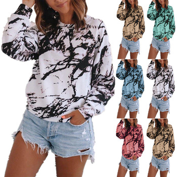 Plus Size T Shirts Fashion Womens Casual Loose O-neck Tie-dye Printed Long Sleeve Tops Girls T-shirt Женские Футболки