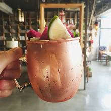 Copper plated Drum Type Moscow Mule Mug Hammered Plated Beer Cup 550ml