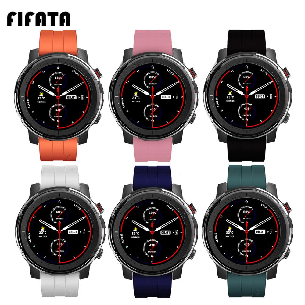 FIFATA 22MM Colorful Silicone Watch Strap For Xiaomi Huami Amazfit Stratos 3/2/GTR Smart Watch Replacement Wristband Accessories
