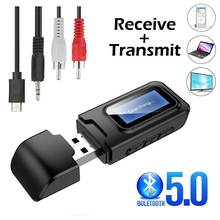 Bluetooth 5.0 Audio Transmitter Receiver LCD Display 3.5MM 3.5 AUX Jack RCA Stereo USB Wireless Adapter for PC TV Car Headphones