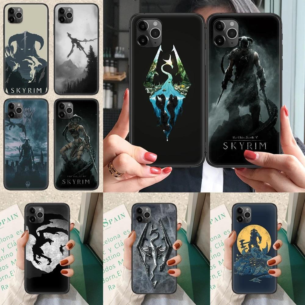 The Elder Scrolls V Skyrim Phone case For iphone 4 4s 5 5S SE 5C 6 6S 7 8 plus X XS XR 11 12 mini Pro Max 2020 black coque