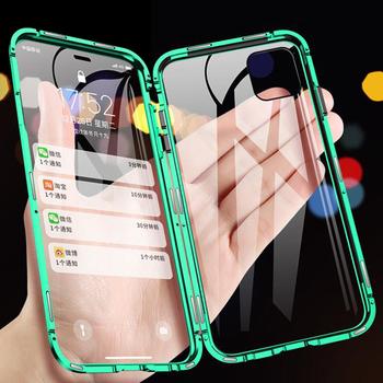 360 metalowy magnetyczny futerał na telefon iPhone 11 Pro Max etui na iPhone XR X XS Max 6 6S 7 8 Plus dwustronnie obudowa ze szkła hartowanego tanie i dobre opinie Superego Przezroczysty Zwykły Aneks Skrzynki 360 Magnetic Metal Case Anti-knock Heavy Duty Ochrony Adsorpcji Odporna na brud