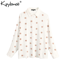 Vintage Stylish Embroidered Polka Dot Loose Blouses Women 20
