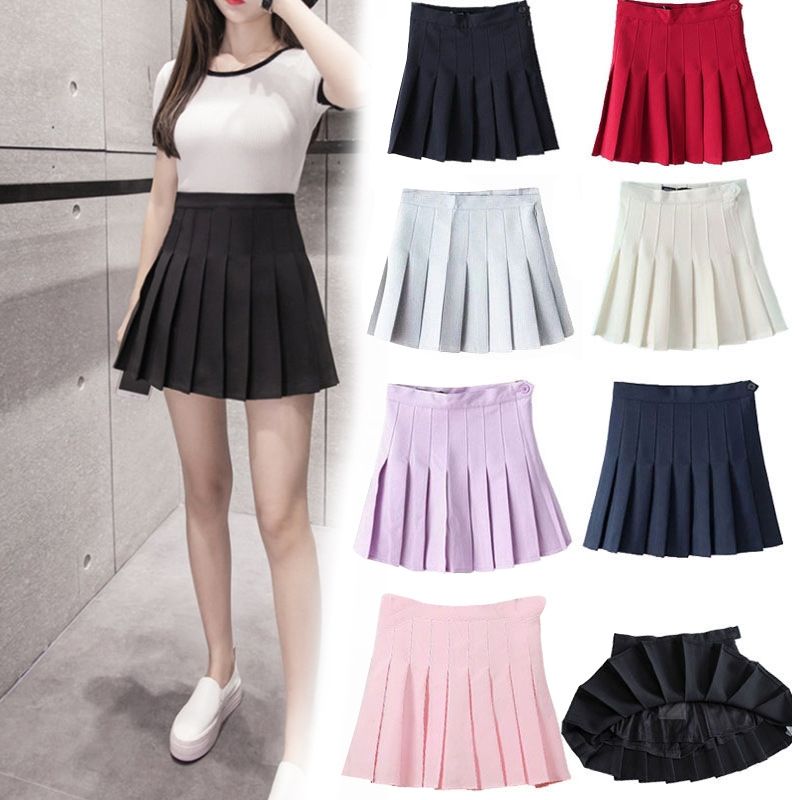 Casual Solid Mini half length pleated skirts for women plus size high waist skirt is thin and anti empty A line mini skirt|Skirts| - AliExpress