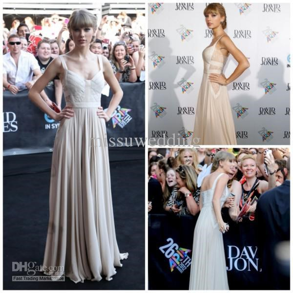 Fast Shipping In Stock Discount Sleeveless Cheap Prom Gown Evening Beach Chiffon Celebrity Dress