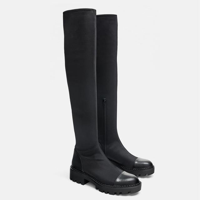 Same DesignWomen's over-the-knee Boots Elastic Slim Boots 2020 Winter  New Round  Toe Zipper High Boots 1