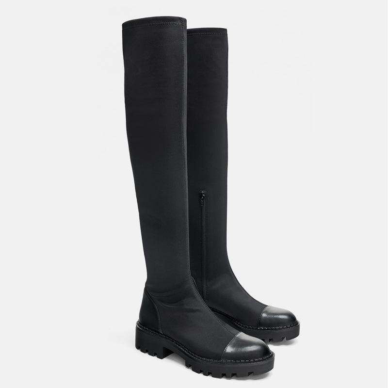 Same DesignWomen's over the knee Boots Elastic Slim Boots 2020 Winter  New Round  Toe Zipper High Boots