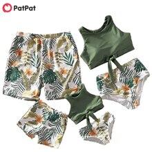 Patpat 2021 nova chegada do verão tankini floral e folha impressão combinando maiôs família correspondência roupas mar praia olhar