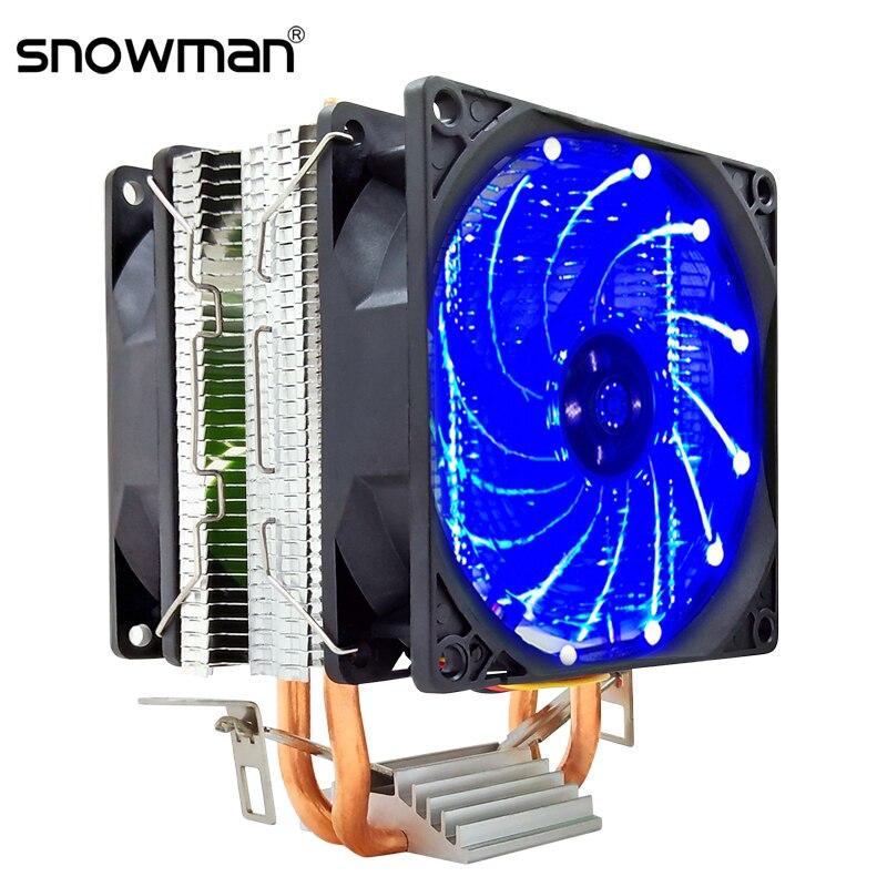 SNOWMAN PWM CPU Cooler 2 Heat Pipes 4Pin 90mm RGB Quiet PC HeatSink Intel LGA 775 1150 1151 1155 1366 CPU Cooling Fan AMDAM2 AM3