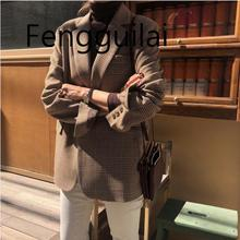 FENGGUILAI Autumn Winter  Vintage Lattice Suit Jacket High Quality Korean Slim Leisure Single Breated Coat Streetwear