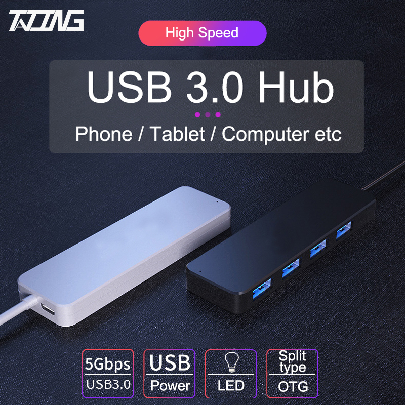 TATING USB 3,0 концентратор 4 порта s Внешний разветвитель с Micro USB портом Зарядка Для iMac ноутбук компьютер аксессуары концентратор USB адаптер
