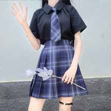 Pleated-Skirts Jk-Uniforms School-Dress Student-Cloths Girl's Women Summer Plaid Astrolabe