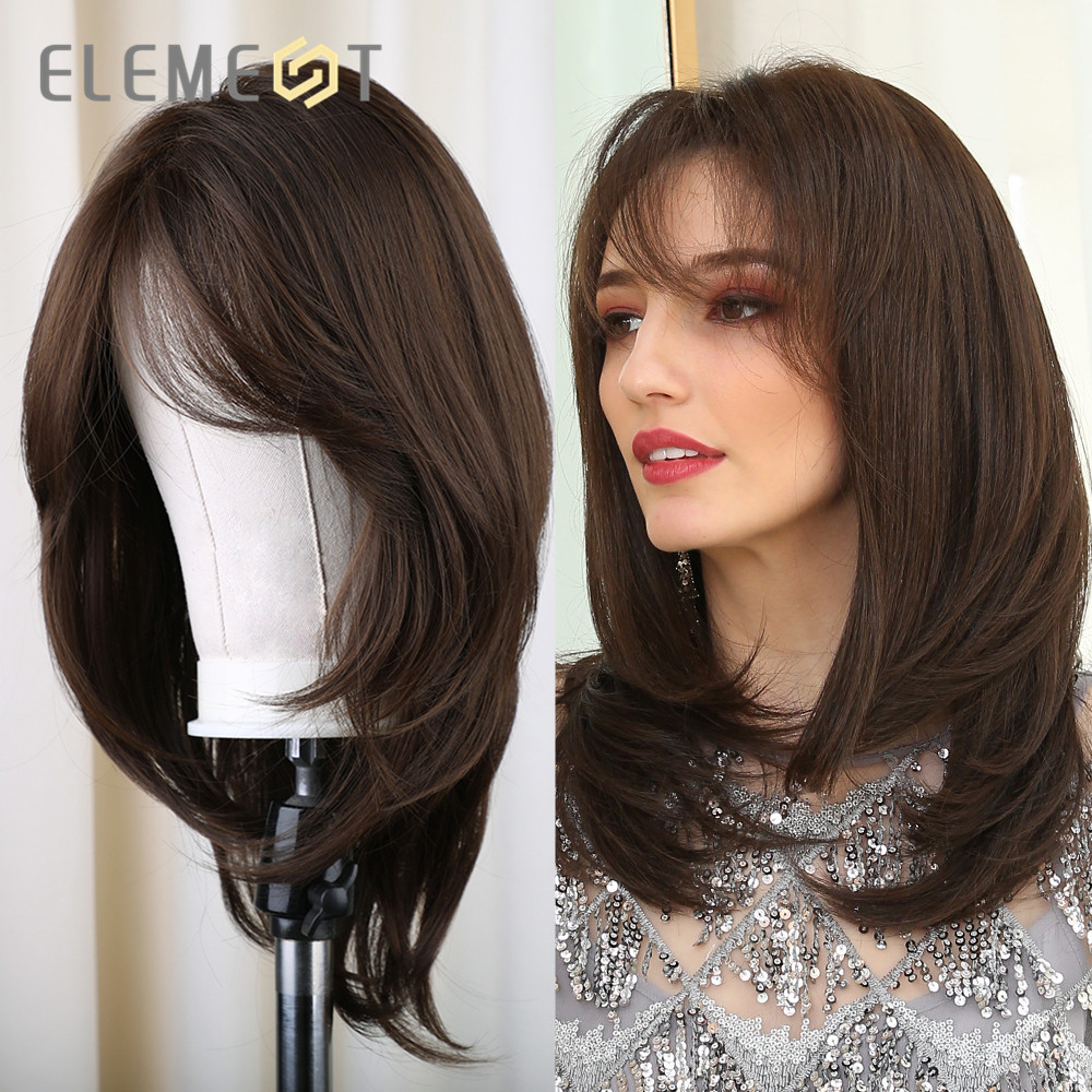 Element Synthetic Medium Long Straight Natural Brown Hair Daily Wear Wigs With Side Bangs For White/Black Women