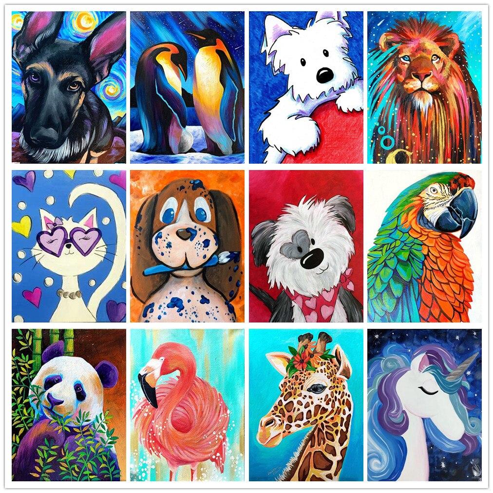 5D diamond painting animal cartoon art DIY round full diamond embroidery kit home decoration children gift 20x30cm