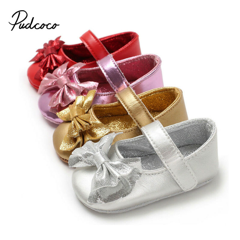 2020 Newest Autumn Girls Leather Shoes Children Girls Baby Princess Bowknot Sneakers Party Shoes Kids Dance Shoes Rubber Bottom