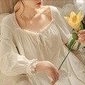 2020 sexy victorian sleepwear noite vestido de noite do vintage camisola de manga comprida camisola de algodão branco sleepwear feminino
