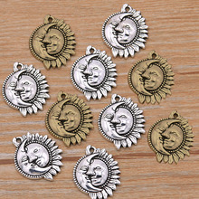 20Pcs 16*20mm Two Color Natural Charms Round Sun Moon Pendants Handmade Decoration Vintage For DIY Jewelry Making Findings