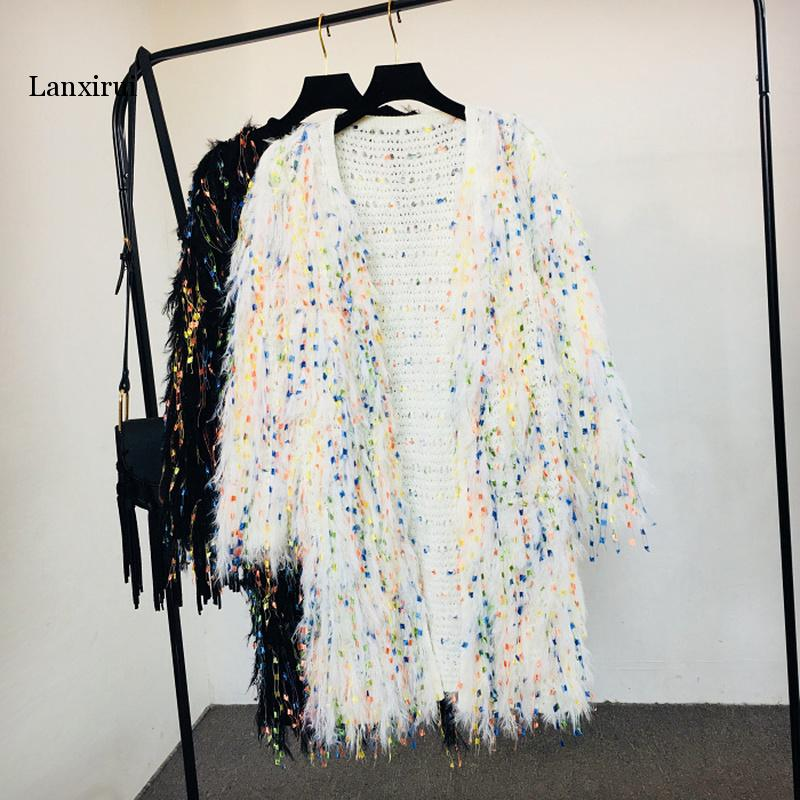Lambs Sequins Tassels Knitted Sweater Long Jacket Hook Flowers Cardigan Handmade Mixed Color Fringed Velvet Fluffy Coat Outwear