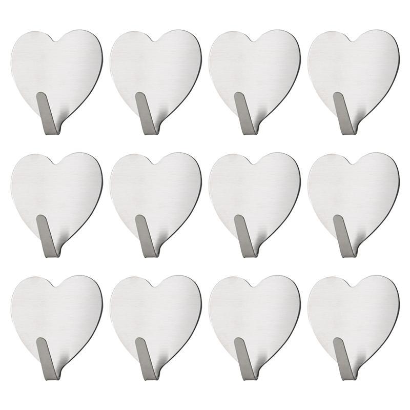 10Pcs Strong Adhesive Hooks Heart-shaped Wall Hook Scarf Hat Keyring Hanger